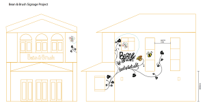 Bean & Brush Signage, design drawing, 2015